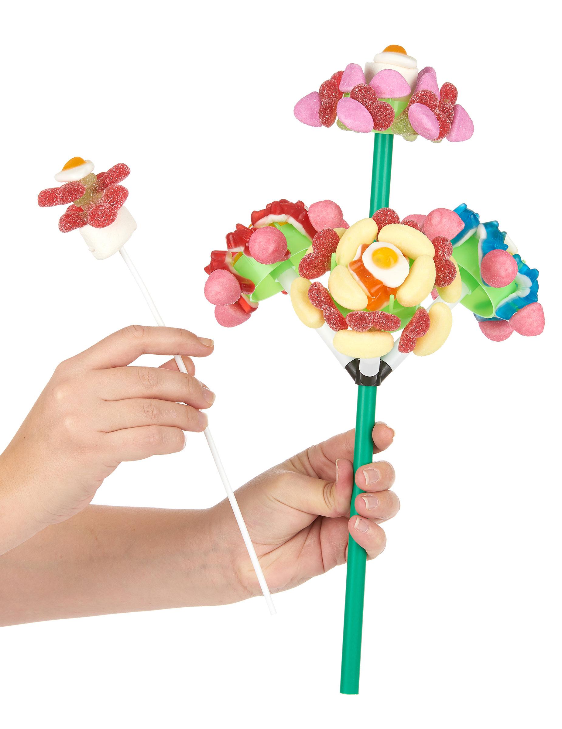 supporto per un bouquet di caramelle con 4 fiori su. Black Bedroom Furniture Sets. Home Design Ideas