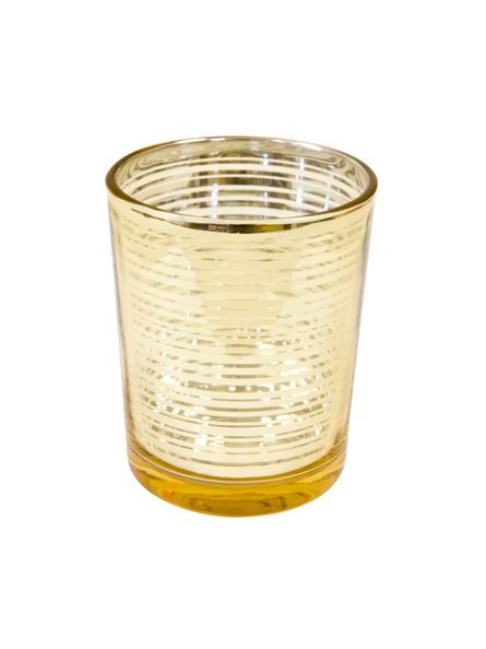 Portacandele in vetro dorato su vegaooparty negozio di for Portacandele in vetro