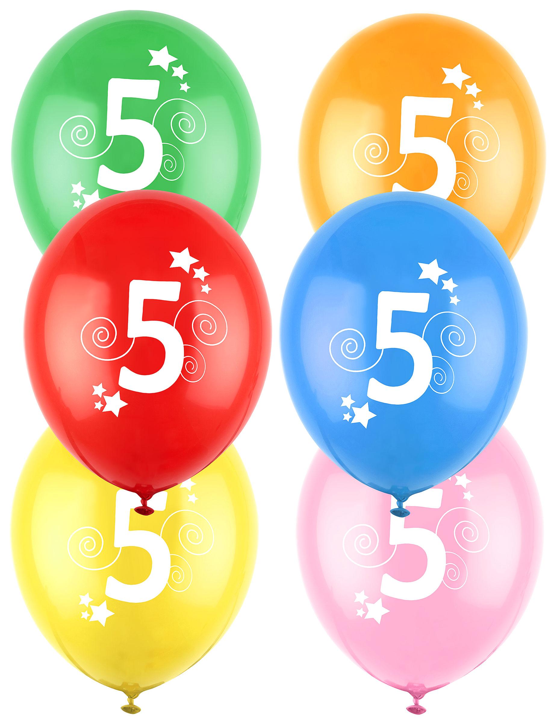 12 palloncini in lattice colorati con stelle numero 5 su for Numero parlamentari 5 stelle