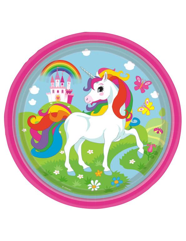Piatti in cartone con unicorno ed arcobaleno cm su