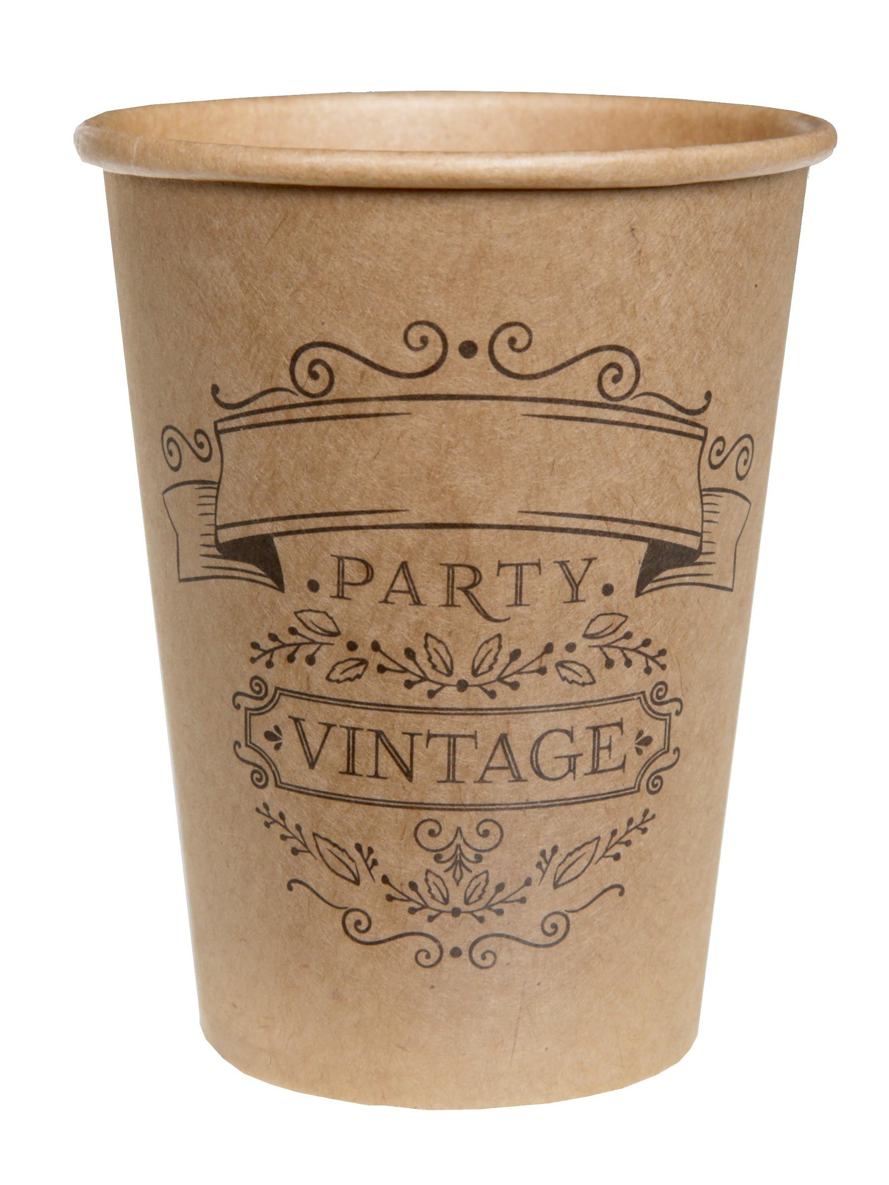 10 bicchieri kraft in cartone vintage su vegaooparty negozio di articoli per feste. Black Bedroom Furniture Sets. Home Design Ideas
