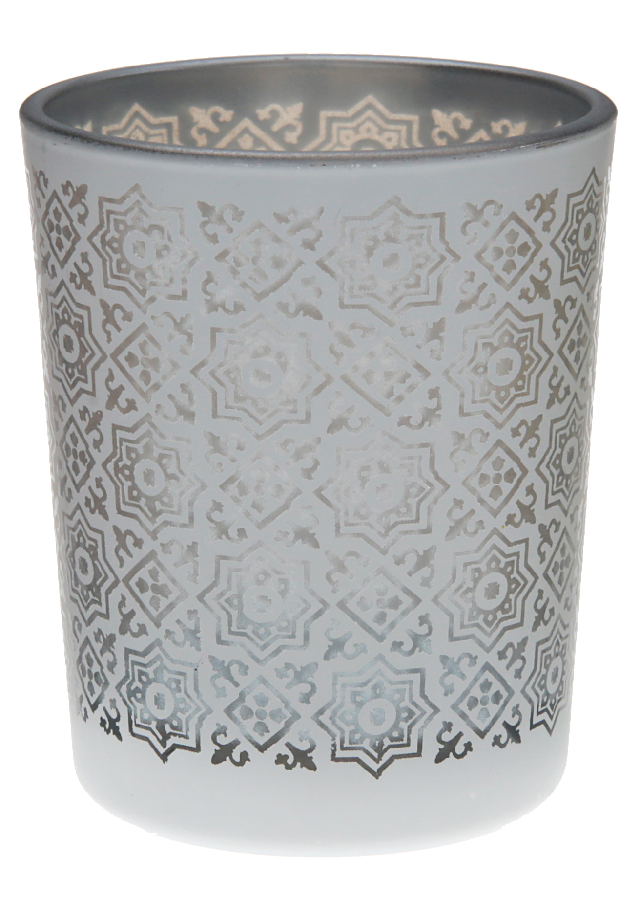 Portacandele in vetro con motivi color argento su for Portacandele in vetro