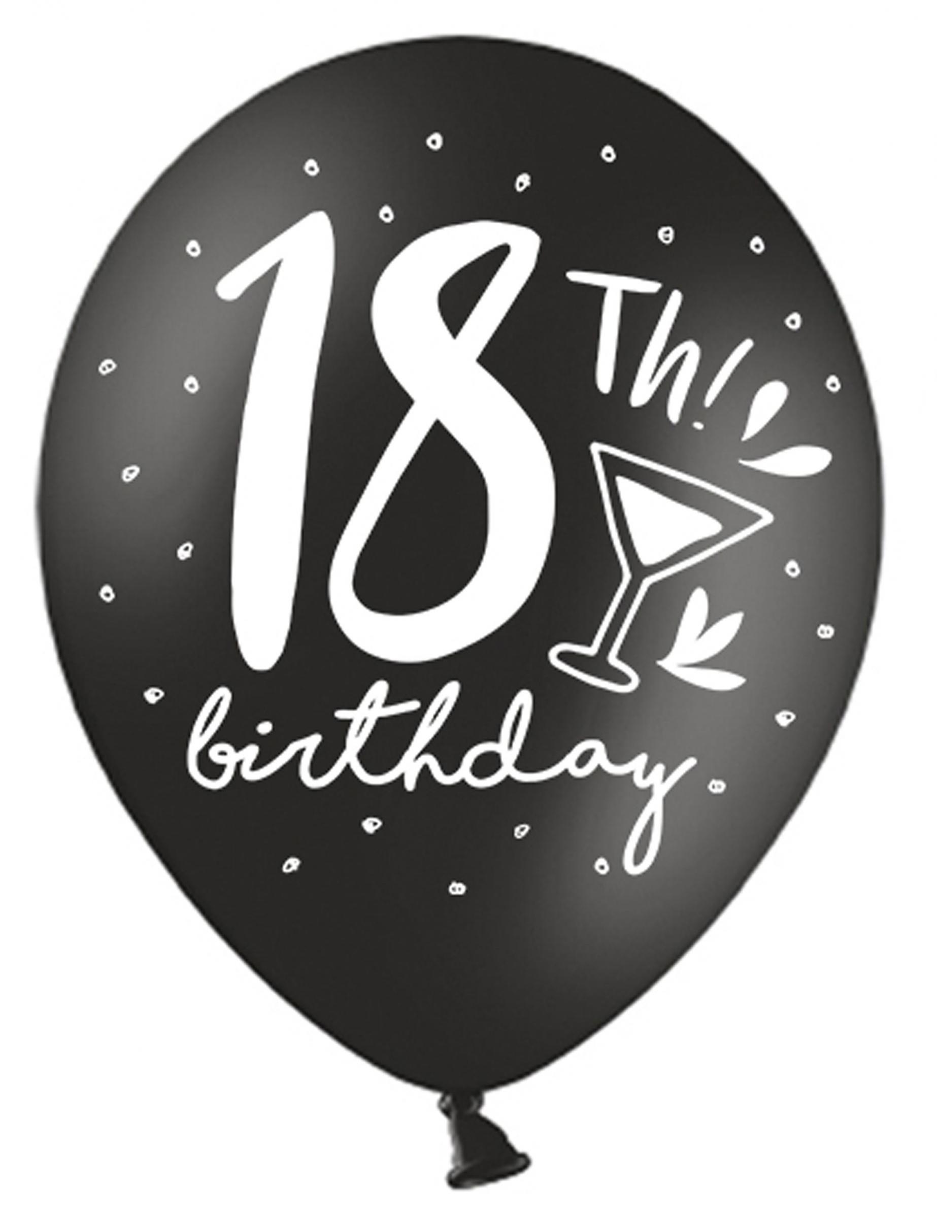 6 palloncini bianchi e neri 18th birthday su vegaooparty - Piatti bianchi e neri ...