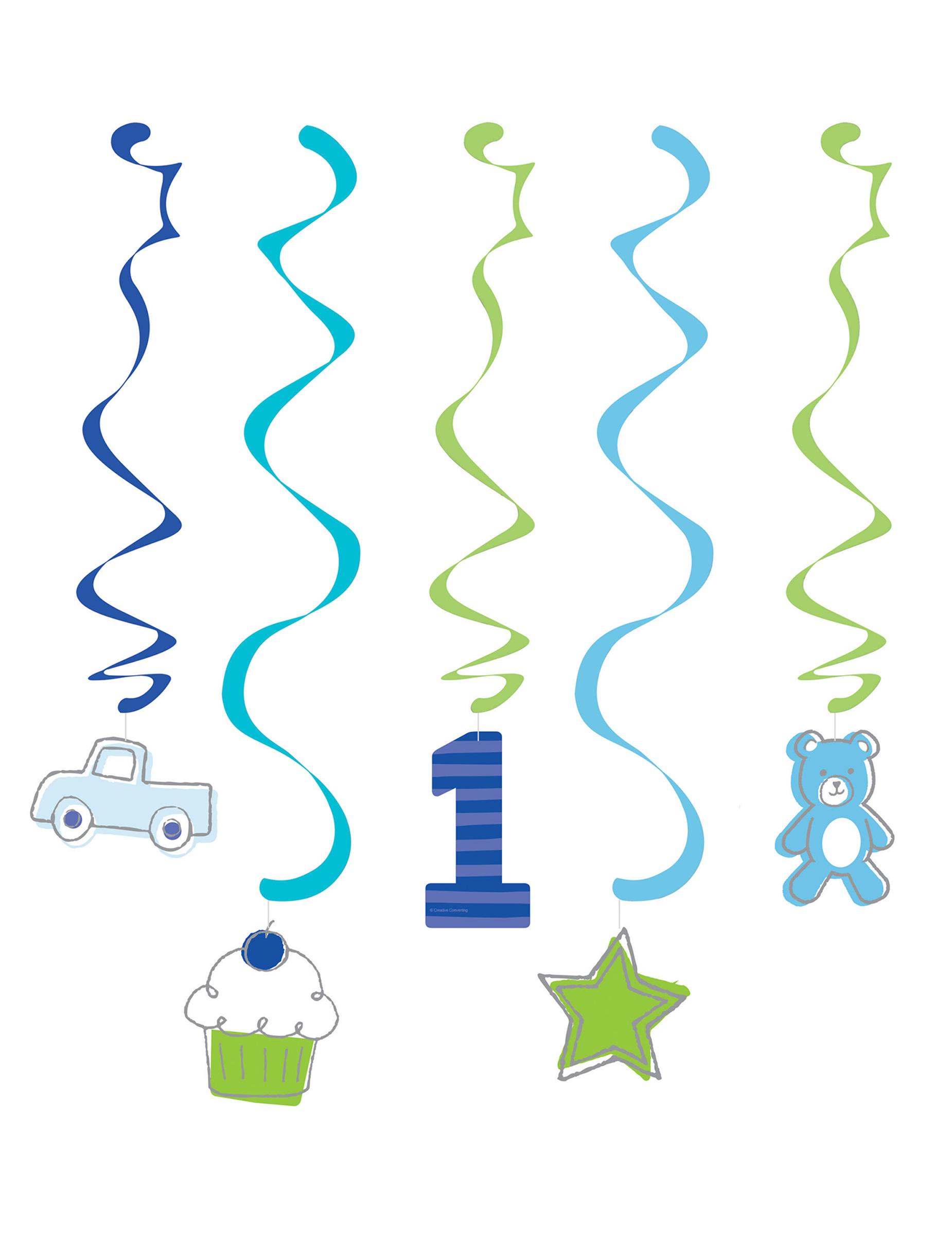 6 decorazioni da appendere 1 compleanno blu 99 cm su for Decorazioni da appendere