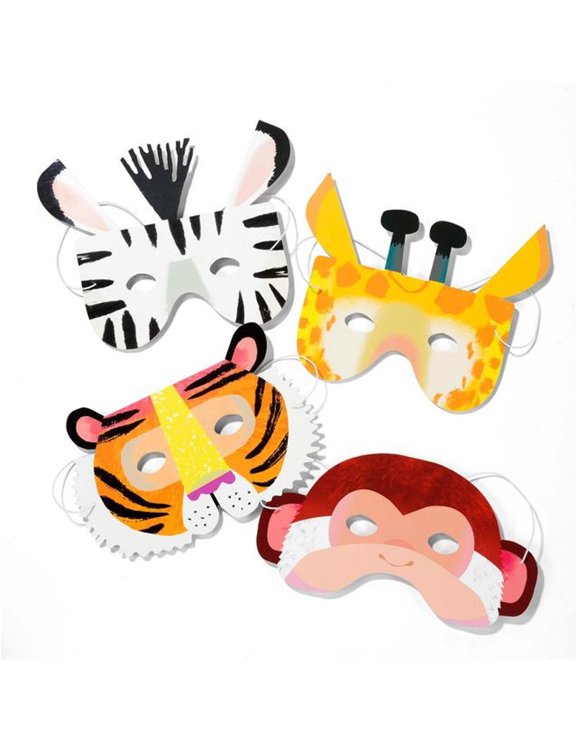 Maschere in cartone animali della giungla su vegaooparty