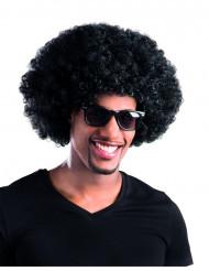 Parrucca riccia nera voluminosa per adulti