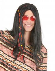 Parrucca nera stile hippy adulti