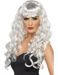 Parrucca da sirena riccia e bianca lunga da donna