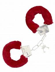 Manette con pelliccia rossa per adulti