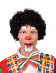 Parrucca riccia nera da clown per adulto