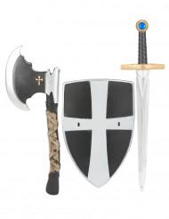 Ascia spada e scudo da cavaliere medievale per bambino