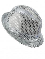 Cappello Borsalino con paillettes argentate per adulti
