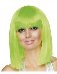 Parrucca verde fluorescente donna caschetto media lunghezza
