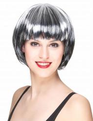 Parrucca corta nera e bianca da donna