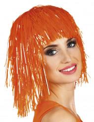 Parrucca metallica arancione fluo per adulti