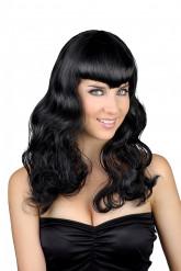 Parrucca nera ondulata con frangia da donna