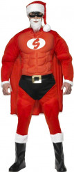Costume da super Babbo Natale muscoloso per uomo