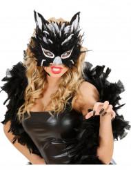 Maschera piumata da gatta per adulti