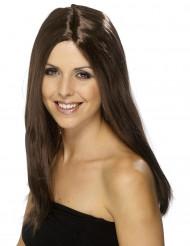 Parrucca lunga castana da donna