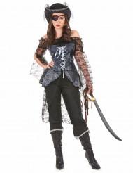 Costume pirata nero e argento per donna