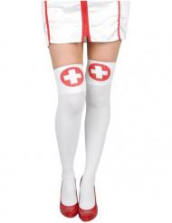 Calze autoreggenti bianche da infermiera