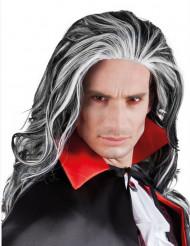 Parrucca lunga nera e bianca da uomo