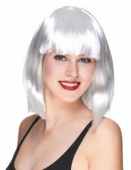 Parrucca caschetto lungo bianca