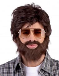 Parrucca uomo con barba e baffi adulti