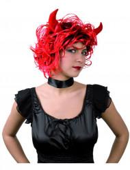 Parrucca rossa con corna da diavolo