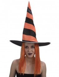 Parrucca con cappello da strega arancione