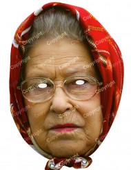 Maschera in cartone Regina Elisabetta con foulard