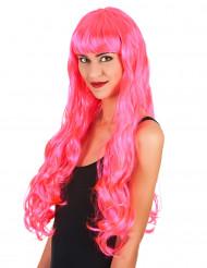 Parrucca lunga rosa con frangia donna