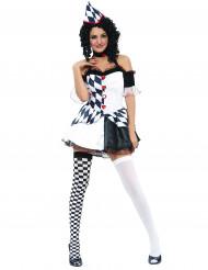 Costume bianco e nero arlecchino donna