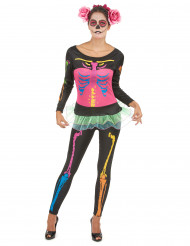 Costume scheletro colorato da donna