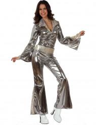 Costume argento pantalone a zampa