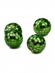 4 mini sfere verdi dalla superficie sfaccettata