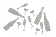 Coriandoli da tavolo calici da vino flûtes e bottiglie argento