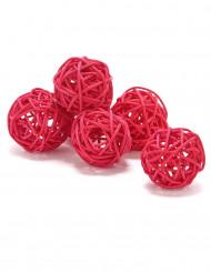 6 palle in vimini di colore rosso diametro 3.5 cm