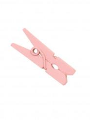 10 mini mollette di legno rosa