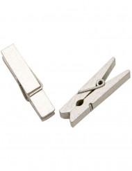 25 Mollette di legno color argento