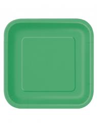 Confezione da 14 piatti grandi verde smeraldo di cartone