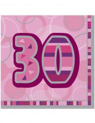 16 tovaglioli di colore rosa per 30 anni