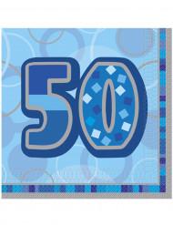 Confezione 16 tovaglioli blu 50 anni