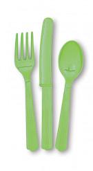 18 posate in plastica verde limone