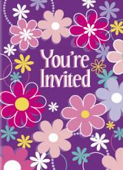 8 inviti di compleanno viola con fiori