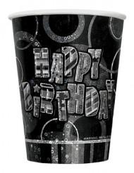 8 Bicchierini tema Happy Birthday grigio metallizzato