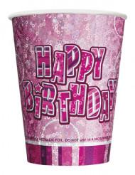 Bicchieri di carta Happy Birthday di colore rosa