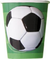 8 bicchieri con pallone calcio in cartone