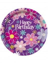 8 Piatti di carta Happy Birthday fiorati 23 cm