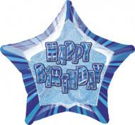 Palloncino Happy Birthday blu a forma di stella